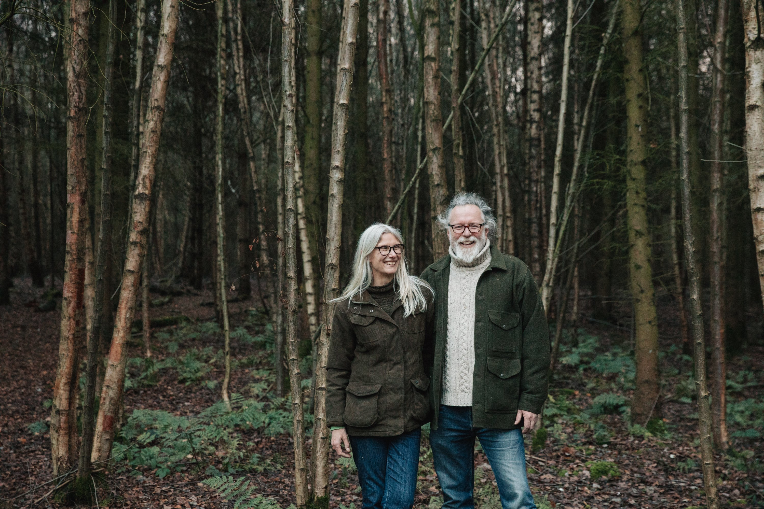 Bax Botanics alcohol free spirits founders Chris and Rose in there woodland.