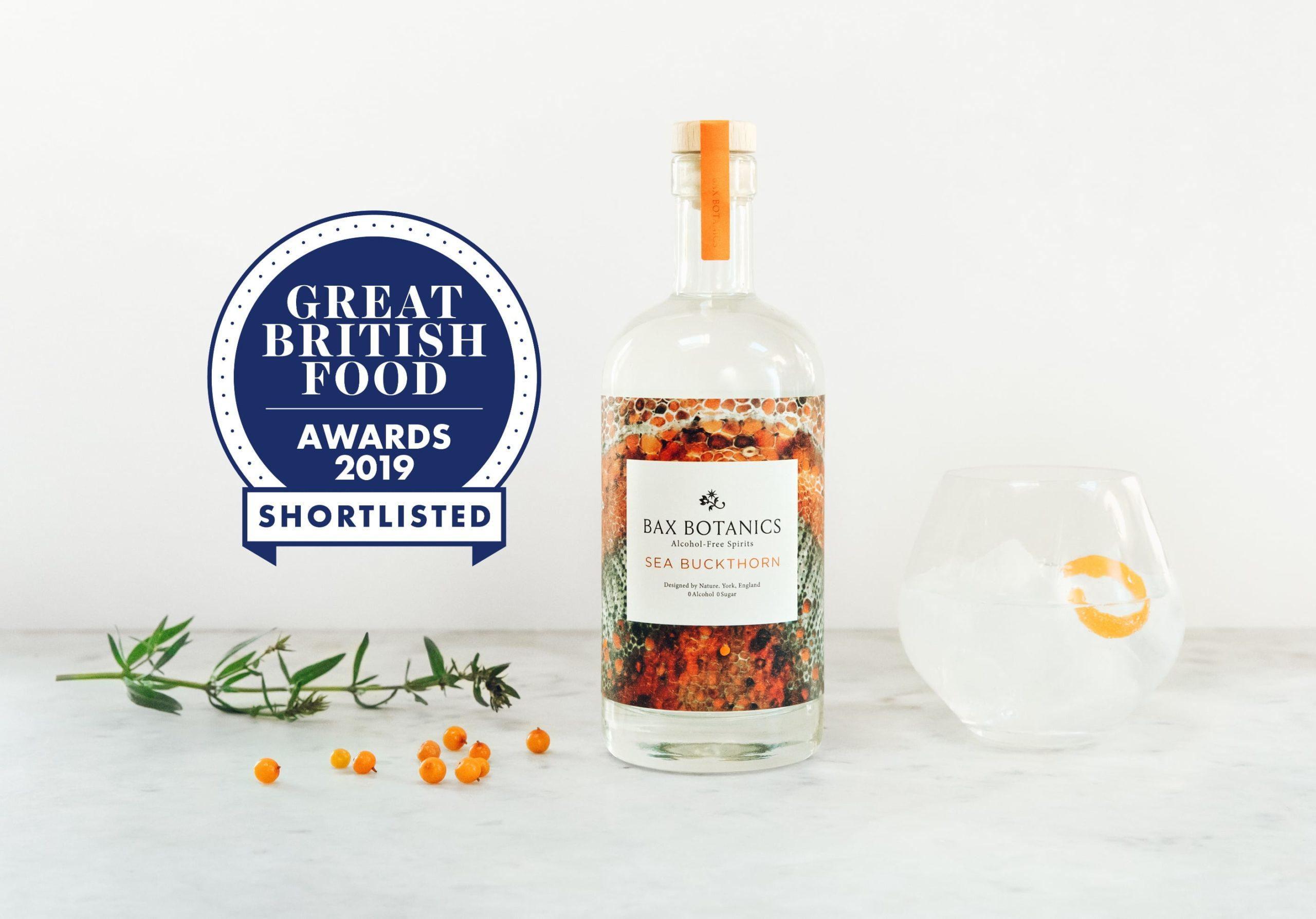 Bax Botanics Sea Buckthorn alcohol free spirit on the Great British Food awards shortlist.