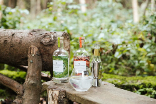 Two bottles of Bax Botanics in a coll outdoors setting