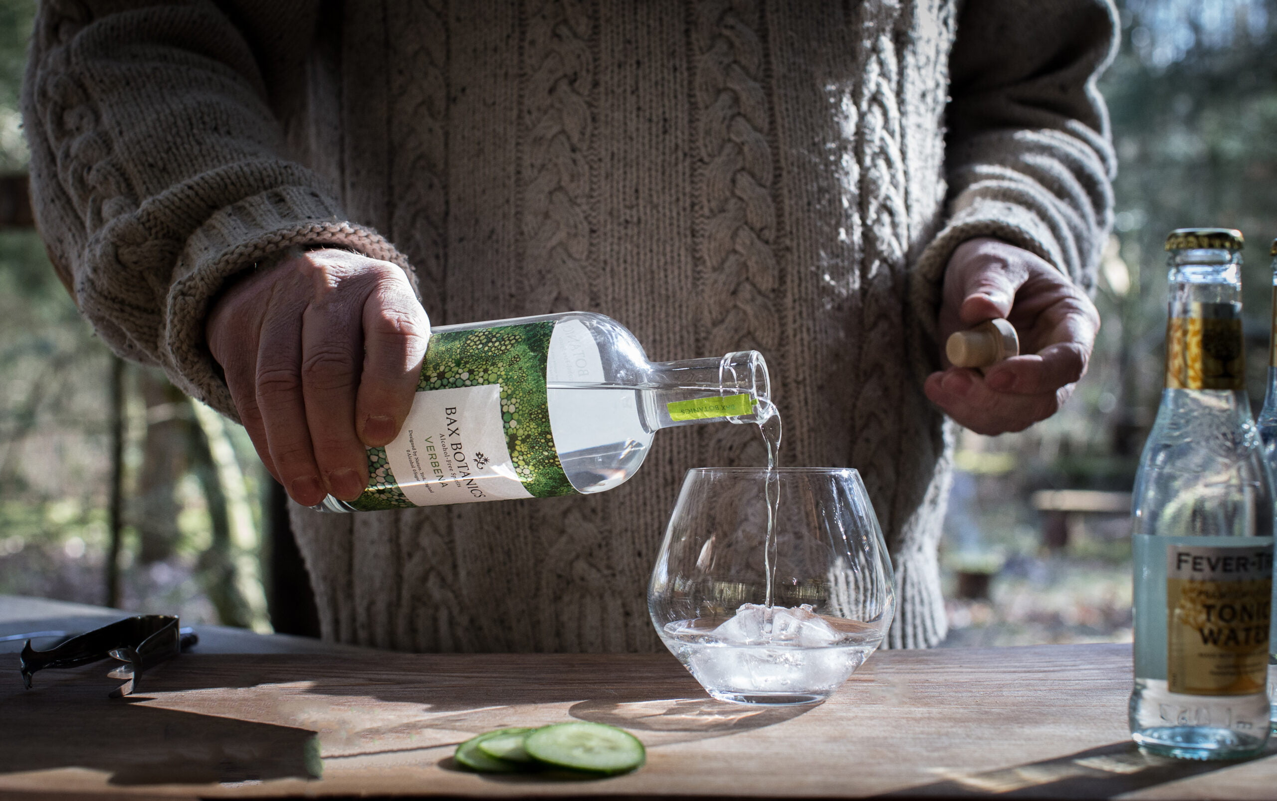 Founder Chris Bax pouring a verbena and tonic